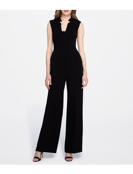 Tahari By Asl Raised Collar Sleeveless Solid Crepe Jumpsuit by Tahari Asl