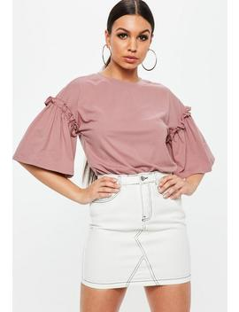 Pink Drop Shoulder Ruffle Sleeve T Shirt by Missguided