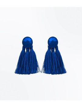 Blue Tassel Coated Stud Earrings by New Look