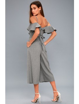 Top Of The Class Grey Striped Off The Shoulder Midi Jumpsuit by Lulus