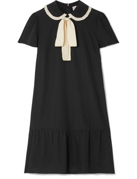 Pussy Bow Silk Crepe De Chine Mini Dress by Red Valentino