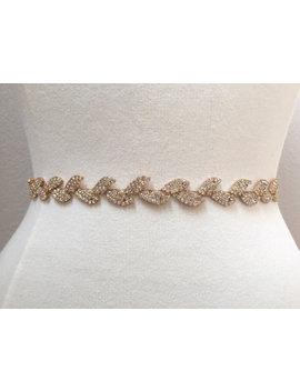 Thin Gold Leaf Crystal Rhinestone Belt    Gold Bridal Belt Or Gold Bridesmaids Belt   Boho Bridal Accessory  Gold Leaf Belt    Eym B025 by Etsy