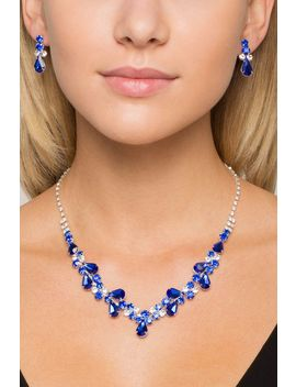 Mariposa Rhinestone Necklace With Earring by A'gaci