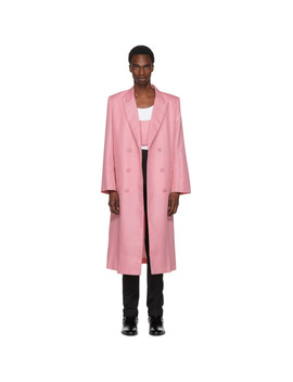 Pink Double Breasted Coat by Helmut Lang