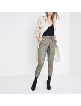 Grey Check Glitter Tie Waist Tapered Pants  Grey Check Glitter Tie Waist Tapered Pants by River Island