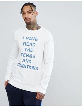Yourturn Terms And Conditions Slogan Sweatshirt In White by Yourturn