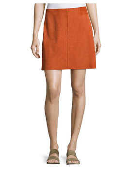 Irenah Metises Suede Mini Skirt, Orange by Theory