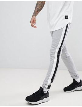 Sixth June Skinny Joggers In Grey With Side Stripe by Sixth June