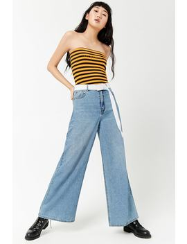 Striped Nowhere Graphic Tube Top by Forever 21
