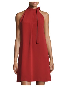 Espere Admiral Tie Neck A Line Dress, Red by Theory
