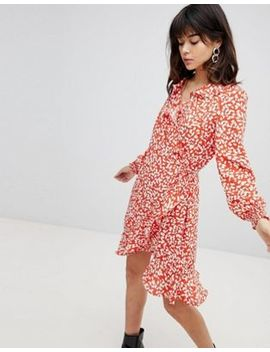 Vero Moda Printed Ruffle Wrap Dress by Vero Moda