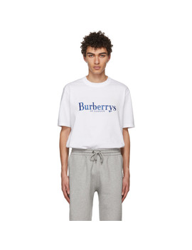 White Embroidered Logo T Shirt by Burberry