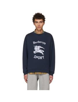 Navy Sport Logo Sweatshirt by Burberry
