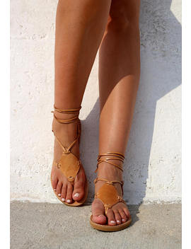 Gladiator Leather Sandals, Full Grain Leather Women Sandals, Strappy Sandals, Natural Color by Etsy