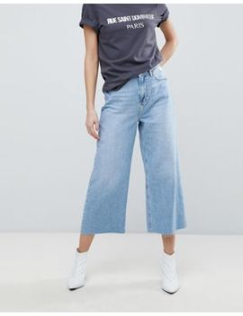 River Island Crop Wide Leg Authentic Wash Jeans by River Island