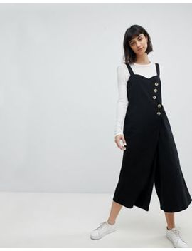 Asos Jumpsuit With Horn Button Detail In Twill by Asos Collection