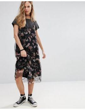 Pull&Bear Floral Print Mesh Midi Dress by Pull&Bear