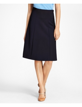 Stretch Wool Double Weave Skirt by Brooks Brothers