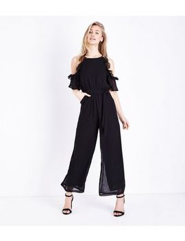 Mela Black Frill Trim Cold Shoulder Jumpsuit by New Look