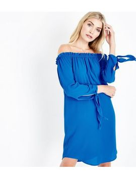 Cameo Rose Blue Frill Bardot Neck Dress by New Look