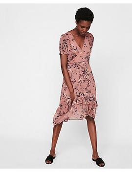 Floral Print Ruffle Midi Dress by Express