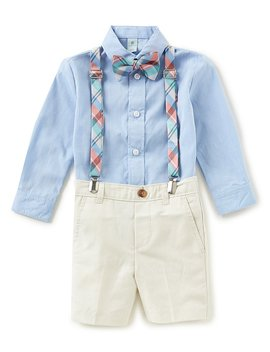 Class Club Little Boys 2 T 7 Button Down Shirt, Shorts, Plaid Suspenders &Amp; Bow Tie 4 Piece Set by Class Club