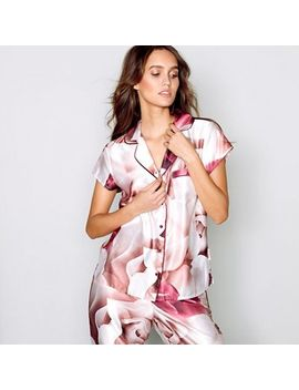 B By Ted Baker   Pink Satin 'porcelain Rose' Short Sleeve Pyjama Top by B By Ted Baker