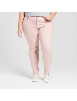 Women's Plus Size Raw Hem Skinny Jean   Universal Thread™ Pink by Universal Thread™