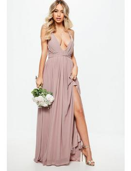 Bridesmaid Pink Pleated Mesh Maxi Dress by Missguided