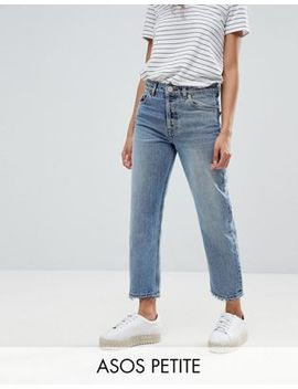 Asos Petite Recycled Florence Authentic Straight Leg Jeans In Spring Light Stone Wash by Asos Petite
