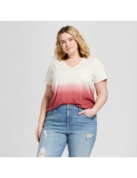 Women's Plus Size Monterey Pocket V Neck Short Sleeve T Shirt   Universal Thread™ Pink Dip Dye by Universal Thread™
