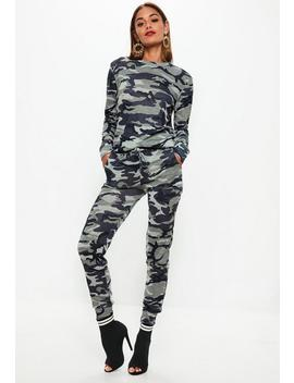 Khaki Camo Print Tracksuit Set by Missguided