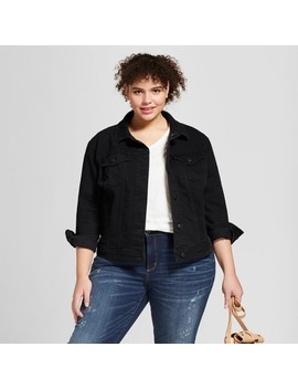 Women's Plus Size Denim Jacket   Universal Thread™ Black Wash by Universal Thread™