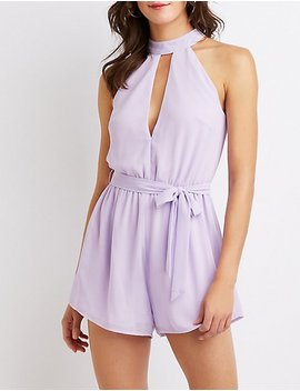 Mock Neck Cut Out Romper by Charlotte Russe