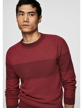 Contrasting Stripe Knitted Sweater by Mango