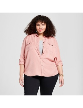 Women's Plus Size Long Sleeve Soft Twill Shirt    Universal Thread™ by Universal Thread™