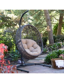 Island Bay Resin Wicker Hanging Egg Chair With Cushion And Stand by Island Bay