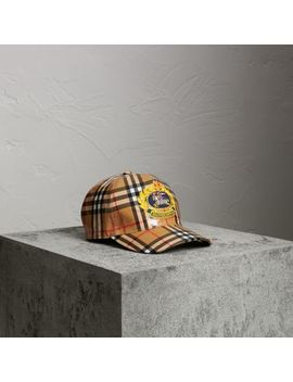 Archive Logo Coated Vintage Check Baseball Cap by Burberry