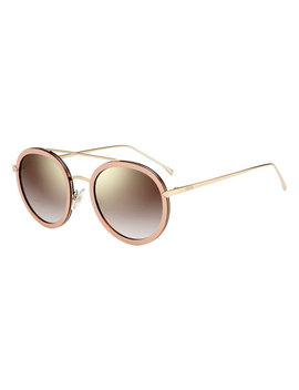 Trimmed Round Mirrored Sunglasses, Pink by Fendi