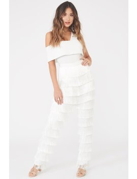 White Fringe Trousers by Lavish Alice