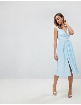 Asos Premium Lace Insert Pleated Midi Dress by Asos Collection