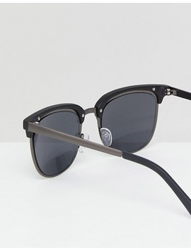 Asos Retro Sunglasses In Gunmetal & Matte Black by Asos