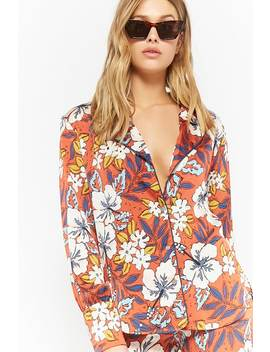Floral Pajama Style Shirt by Forever 21