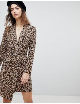 Unique 21 Tuxedo Dress In Leopard Print by Unique 21