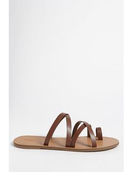 Faux Leather Toe Loop Sandals by Forever 21
