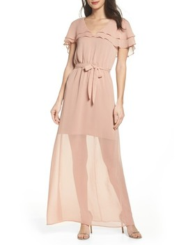 split-sleeve-ruffle-maxi-dress by charles-henry