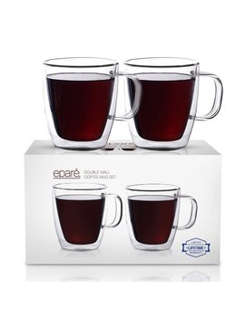 Eparé Insulated Coffee Cups Set (12 Oz, 350 Ml) – Double Wall Tumbler Glass Cup – Mug For Drinking Tea, Latte, Espresso, Juice, Or Water – 2 Glasses by Eparé