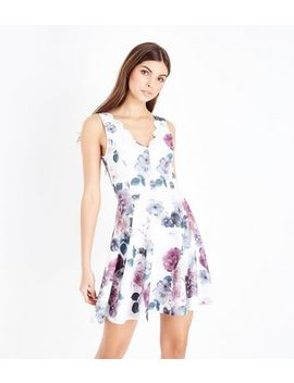 White Floral Print Scallop Neck Skater Dress by New Look
