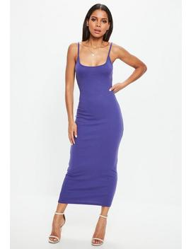 Purple Strappy Ribbed Bodycon Midi Dress by Missguided