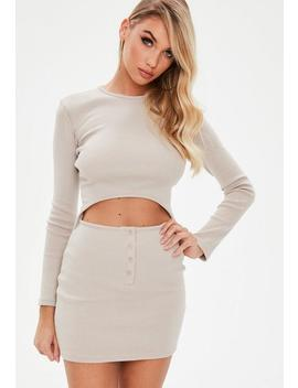 Camel Ribbed Long Sleeve Cut Out Mini Dress by Missguided